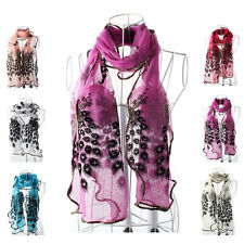 Fashion Women Scarf Long Gauze Peacock Triangle Veil Soft Voile Wrap Shawl Stole