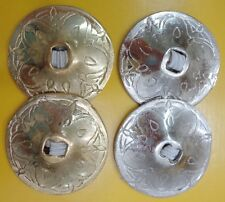 """HAND MADE ENGRAVED BRASS 4 PCS BELLY DANCE ZILLS HIGH QUALITY 2"""" FINGER CYMBALS"""
