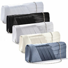 Ladies Satin Evening Prom Handbag Purse Wedding Bridal Clutch Shoulder Bag