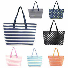 Fashion Canvas Bag Handbag Shoulder Beach Bag Shopping Tote Zipper Handbag