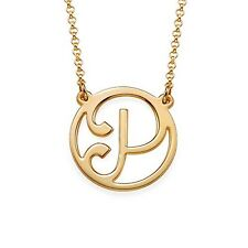 18k Yellow Gold Plated Script Initial Necklace