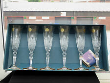CAPRI CRYSTAL CUT GLASS LEAD CRYSTAL CHAMPAGNE FLUTES SET OF 6 - BOXED