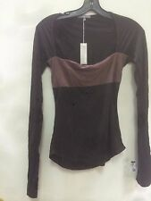 NWT James Perse WTJ3011 brown Two tone Long Sleeve Shirt Top- 100% tencel, sz 2