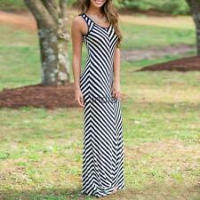 Women's Sexy Striped Slim Boho Long Maxi Dress Summer Casual Beach Vest Dress