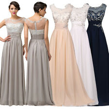 Long Chiffon Bridesmaid Prom Dress Appliques Evening Gowns Wedding Party Dress