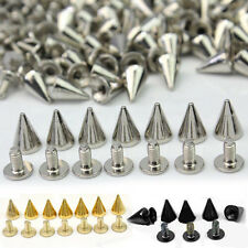 100 Cone Trendy BGBU PCS 10MM Silver Bullet Spikes Rivet Screw Metal Studs Spots