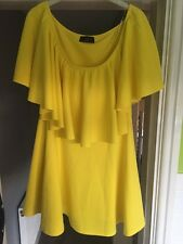Missi London Yellow off the shoulder Dress-small/medium 10/12