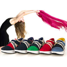 Fashion Women Sneaker Mixed Color Trifle Wedge Canvas Trainer Flange Shoes