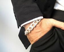 super heavy chain link Cuban curb solid sterling silver chunky men bracelet new