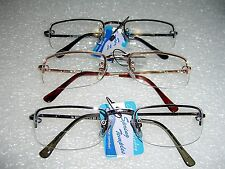 BIFOCAL READING GLASSES SEMI RIMLESS METAL FRAME ASSORTED POWERS SPRING HINGES