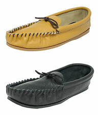 Mens British Made Mokkers Soft Leather Moccasin Slippers BLACK TAN Size 6-13