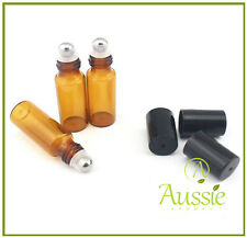 12 x 5ML AMBER GLASS ROLL ON BOTTLES - Aromatherapy - Essential Oils - Perfume