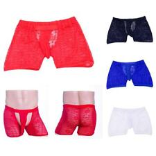 Sexy Men Open Front Bulge Pouch Boxer Briefs Lace Sheer Underwear Shorts Trunks