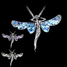 Retro Dragonfly Angel Tibetan Silver Crystal Pendant Chain Jewellery Necklace