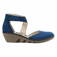 Fly London Piat Cupid Mousse Wedge Blue Black Womens Shoes