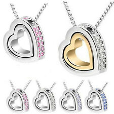 Fashion Jewelry Womens Crystal Chain Heart Necklace HOT Pendant Silver Plated