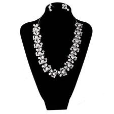 Fashion Bride Crystal Rhinestone Pearls Necklace Earring Jewelry Set