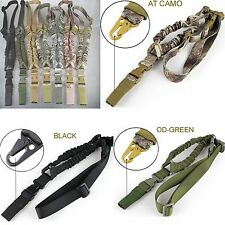 Tactical Sports One Point Sling Rifle Elastic Bungee Strap Snap Hook Heavy Duty