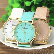 Geneva Fashion Women Watch Unisex Checkers Leather Analog Quartz Wrist Watches