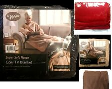 New Super Soft TV Blanket Throw with Sleeves Snuggie Fleece w Pocket 4Colours