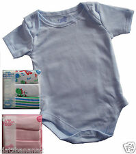 Short Sleeve BABY VESTS Body Suits x 3 PINK BLUE or DINOSAUR various sizes