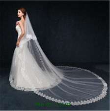 New Elegant Lace Bridal Veil Handmade Wedding Veil White Ivory 2T with comb