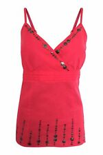 Per Una Pink & Sequin Embellished Lace Up Back Cotton Cami Top Sz 10 12 14 16 18