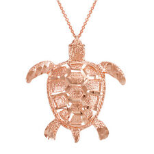 14k Rose Gold Vertical Textured Lucky Hawaiian Honu Sea Turtle Pendant Necklace