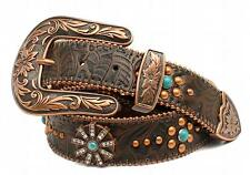 Nocona Western Womens Belt Leather Floral Studs Rhinestons Spur Copper N34989216