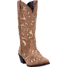 Laredo Womens Tan Sharona Goat Leather Cowboy Boots Bone Underlay