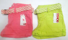 Bongo Womens Belted Poplin Shorts Glo Green Pink Junior Size 1NWT