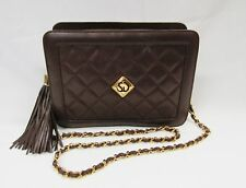 ST JOHN KNITS VINTAGE BROWN HANDBAG QUILTED LEATHER CHAIN SHOULDER BAG PURSE