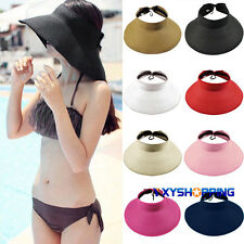 Hot Summer Women Wide Brim Straw Visor Hat Roll Up Foldable Floppy Beach Sun Cap