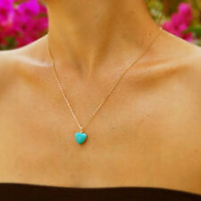 Boho Blue Turquoise Stone Love Heart Pendant, Gold Silver Tone Chain Necklace