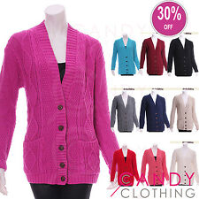 Ladies Size 8-16 Cable Knit Boyfriend Long Sleeve Grandad Womens Cardigan Top