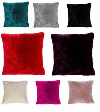 "Luxury Super Soft Plain Faux Fur Fleece Cushion Covers 18""x18"" - Pack Of 4"