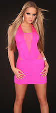 sexy mini dress Gogo Party Clubwear neon pink Summer Evening S-M