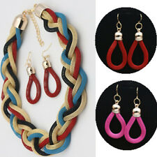 Jewelry Sets 2016 New Earrings Exaggerated Retro Metal Beads Braided Necklace