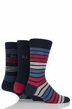Mens 3 Pair Pringle Peterhead Plain and Mixed Striped Cotton Socks