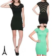 NEW LADIES SEXY MESH LACE BODYCON CLUB PARTY COCKTAIL MINI SEAMLESS COMFY DRESS