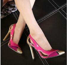 Sexy Hollow Out Mixed Colors Pointed Toe Women's Stilettos Pump High Heels Shoes