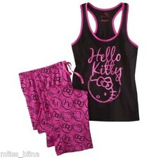 NWT Women's Juniors Hello Kitty Pink Pajamas 2-PC PJ Set Tank Top & Pants L XL