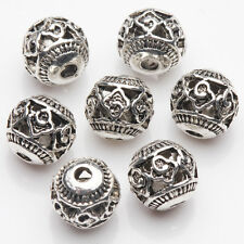 Hot Tibetan Silver Plated Carved Pattern Round Spacer Hollow Beads 8mm 10/20Pcs