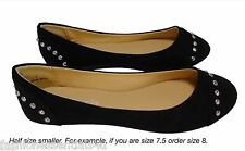 Womens Flats Ballet Ballerina Shoes Black Studs Faux Suede Cute Round Fashion