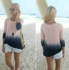 Blouse Gradient Color Fashion Round Collar Long Sleeve Patchwork Top Beautiful