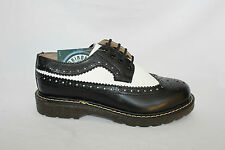 Bertrum Black White Grinders Men's Womens American Brogue Lace up Leather Shoes