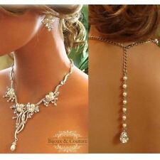 Crystal pearl Bridal Backdrop Necklace & Earrings Wedding fashion Jewelry Set