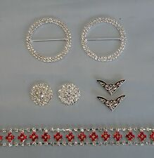 DIY Bling Browband Kit - Red Silver Diamond Chain, Centres, Rings, Flag Tips