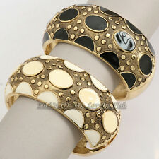 Z2-A168 Fashion Metal Glaze Dot Hinged 18KGP Bracelet Bangle Cuff