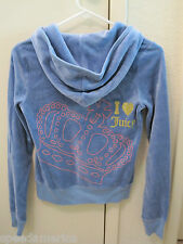 NWT Juicy Couture Shaded Light Blue I Heart Juicy Velour Hoodie Top S $128